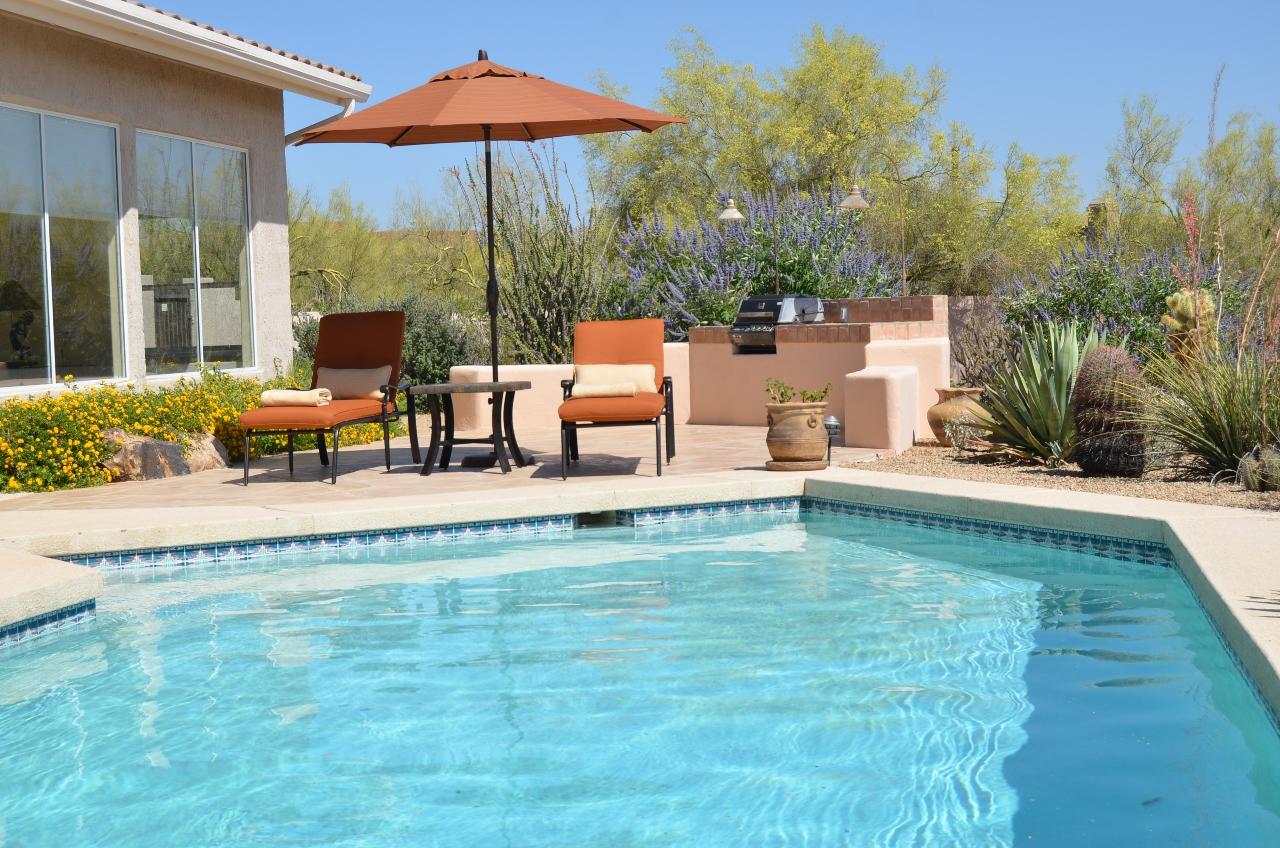 Pool and sun lounge area