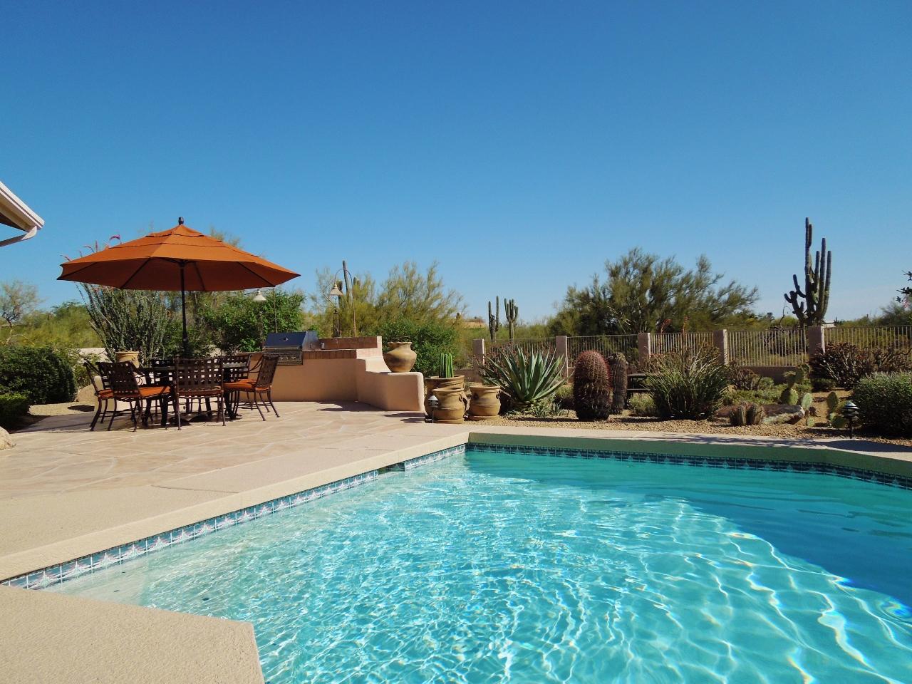Blue sky and heated pool